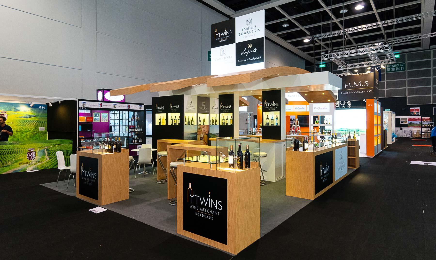 Création du stand Famille Bourgeois et Twins pour le salon Vinexpo de Hong Kong