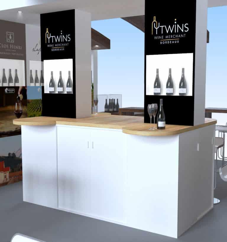 Mobilier vitrines et comptoir de dégustation vins
