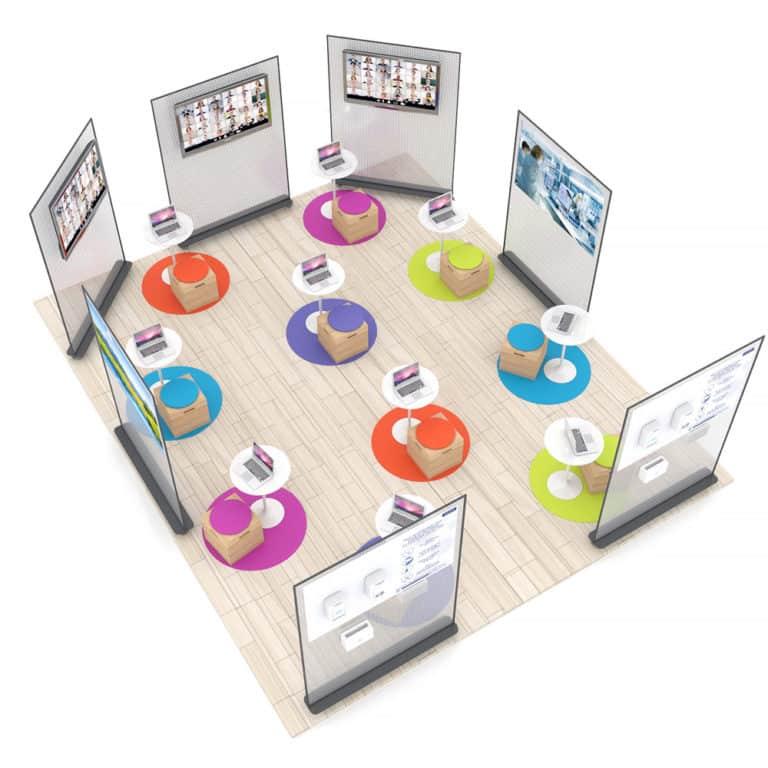Aménagement de bureaux avec distanciation sociale