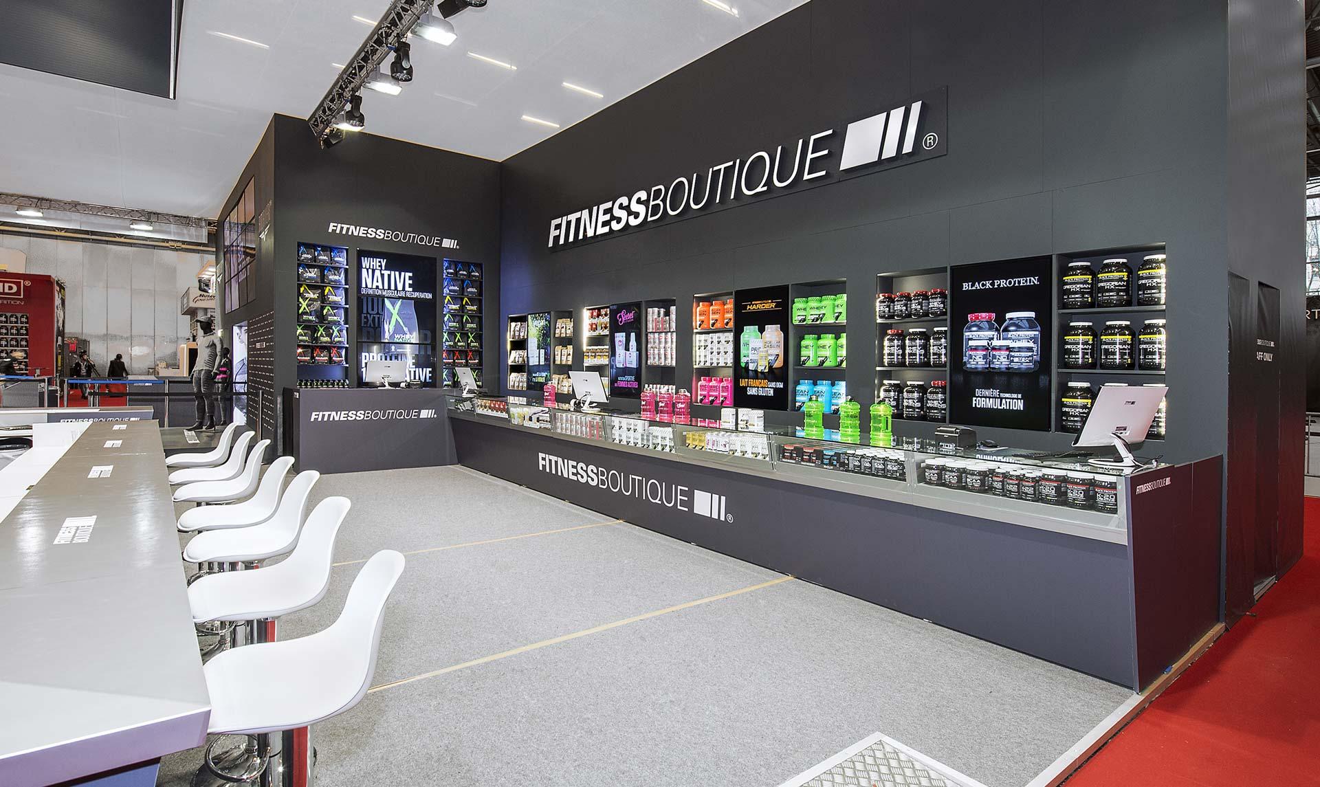 Design du stand Fitness Boutique pour le salon Body Fitness
